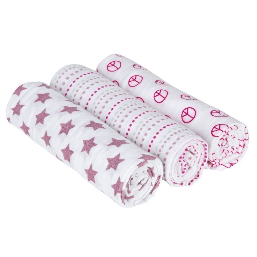 Lässig Hoitoliina Swaddle & Burp Blanket Sweet Dreams Pinkki 85 X 85 Cm