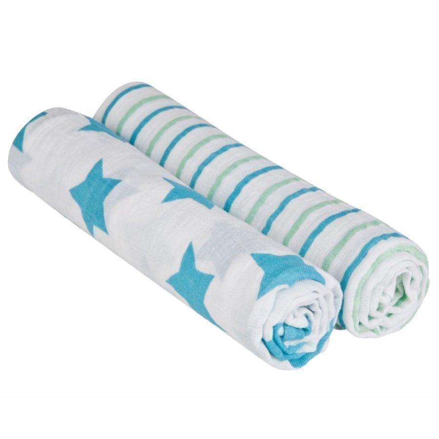 Lässig Hoitoliina Swaddle & Burp Stars & Stripes Sininen 120 X 120 Cm