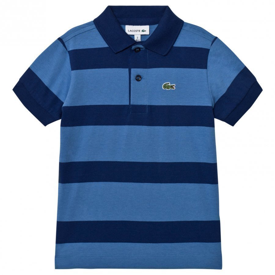 Lacoste Blue And Navy Wide Stripe Jersey Polo Pikeepaita