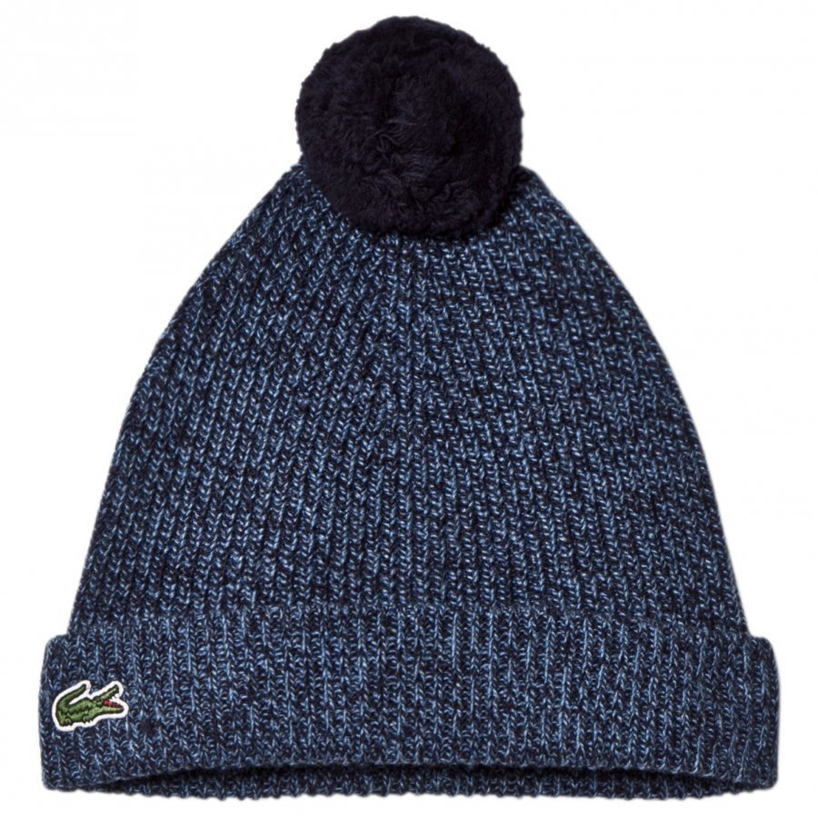 Lacoste Blue Marl Bobble Hat Pipo