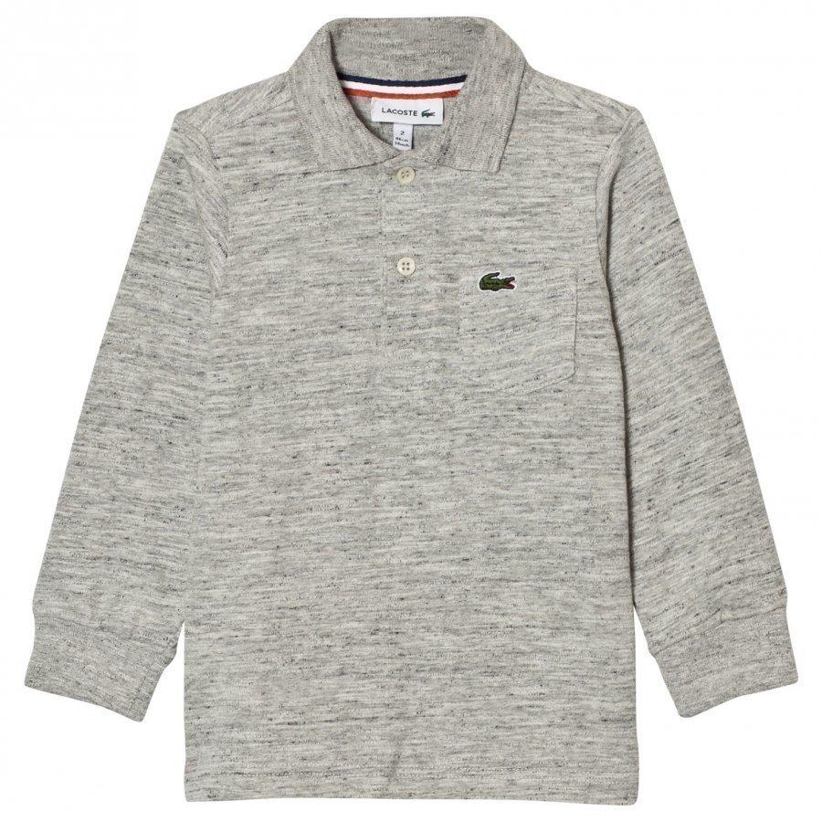 Lacoste Grey Marl Long Jersey Polo Pikeepaita