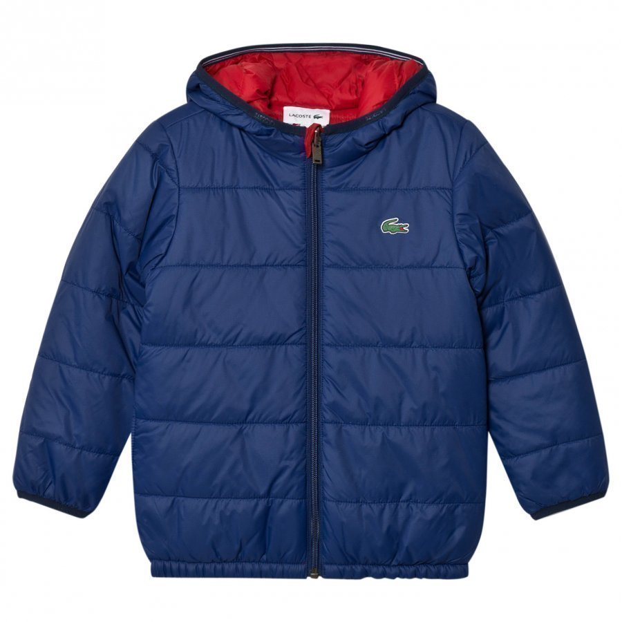 Lacoste Navy And Red Reversible Hooded Puffer Jacket Toppatakki