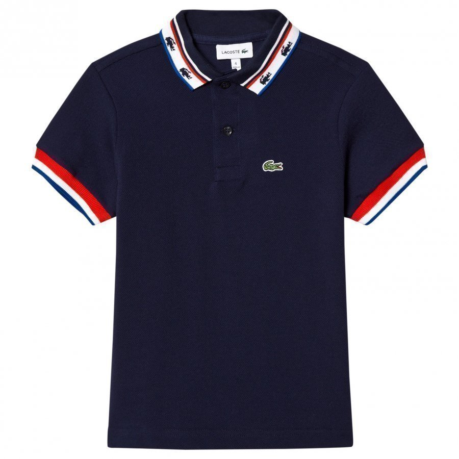 Lacoste Navy Retro Tipped Branded Polo Pikeepaita