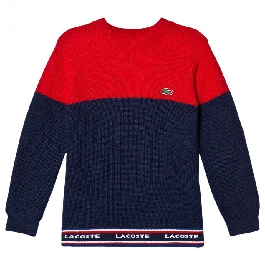 Lacoste Red And Navy Colour Block Branded Knit Jumper Paita