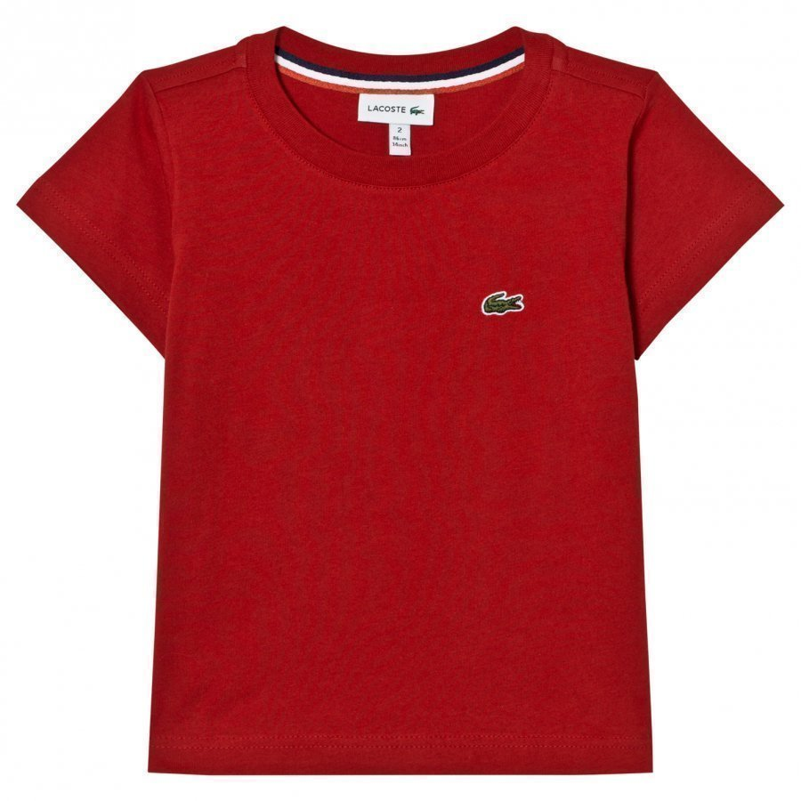 Lacoste Red Branded Jersey Tee T-Paita