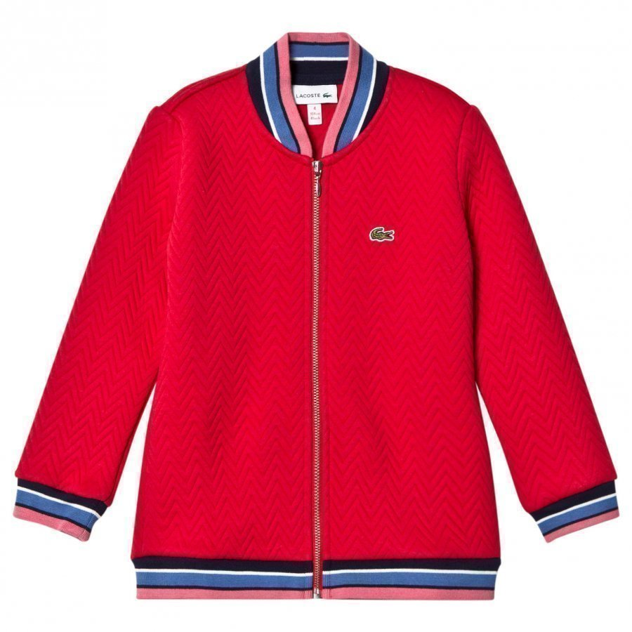 Lacoste Red Quilted Bomber Jacket Bomber Takki