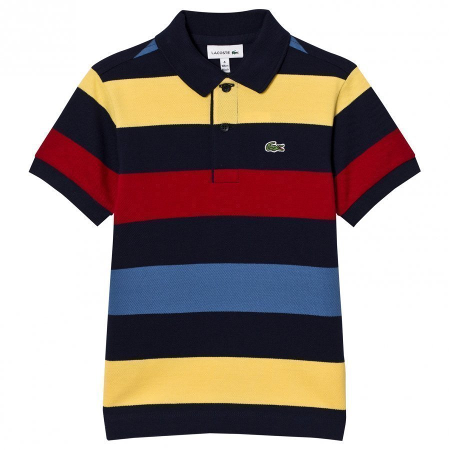 Lacoste Striped Colorblock Pique Polo Navy/Multi Pikeepaita