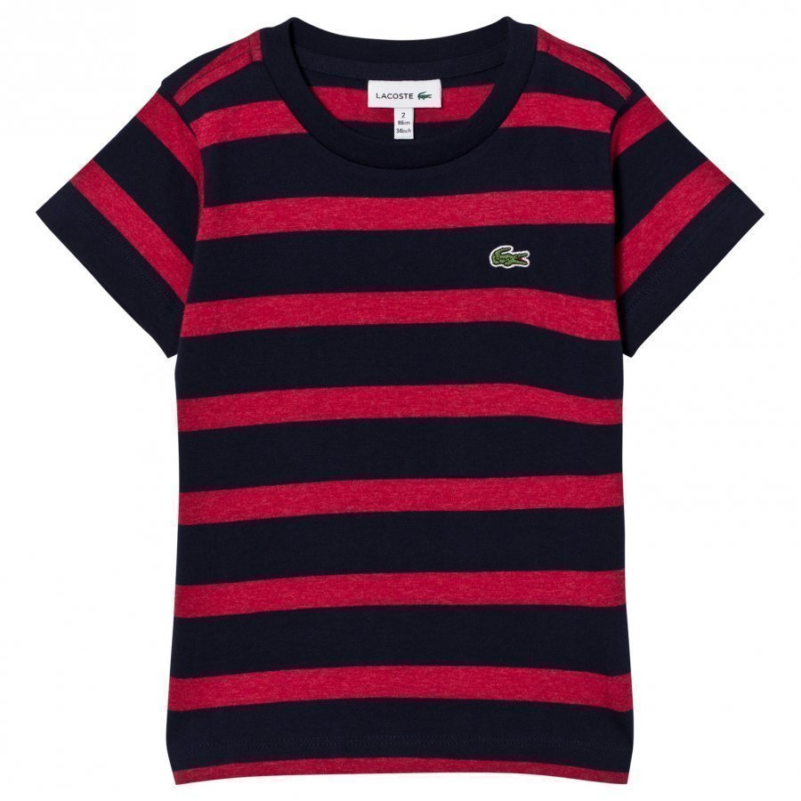 Lacoste Striped Jersey Tee Red/Navy T-Paita