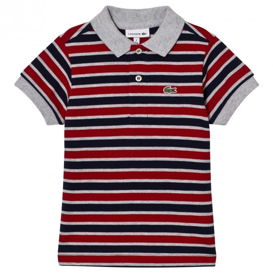Lacoste Striped Pique Polo Navy/Red Pikeepaita
