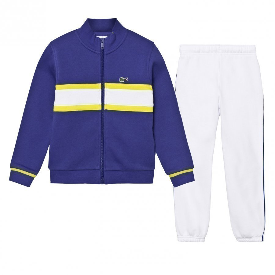 Lacoste Tracksuit Blue With White Stripe Verryttelyasu