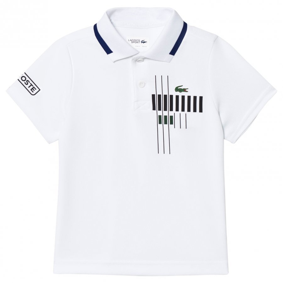 Lacoste White Tennis Graphic Technical Piqué Polo Pikeepaita