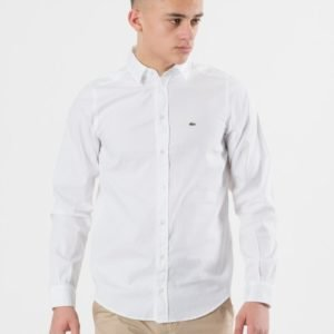 Lacoste Woven Shirts Kauluspaita Valkoinen