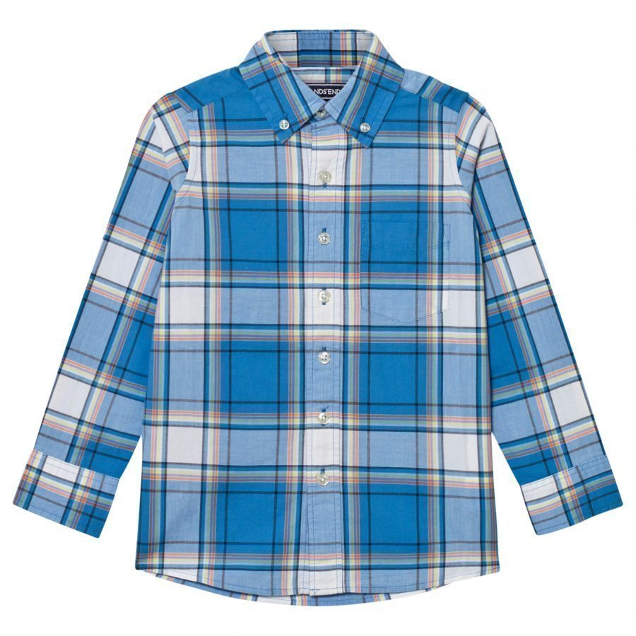 Lands End Blue Poplin Shirt Kauluspaita