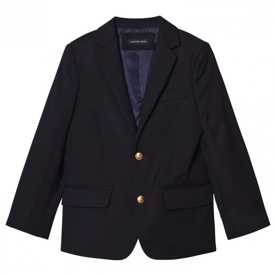 Lands End Navy Wool Blazer Bleiseri