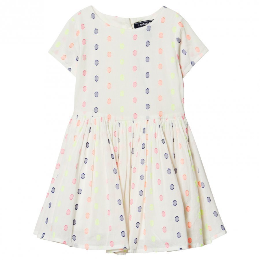 Lands End White Jacquard Spot Twirl Dress Juhlamekko