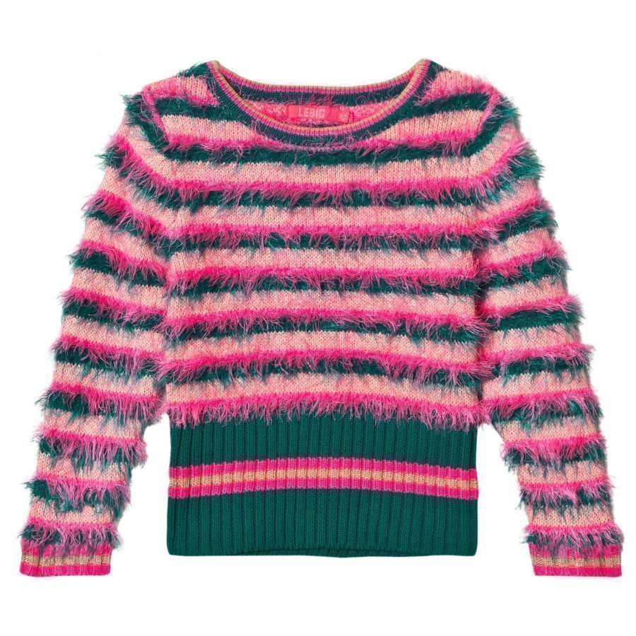 Le Big Fluffy Stripe Sweater Pink Green Paita