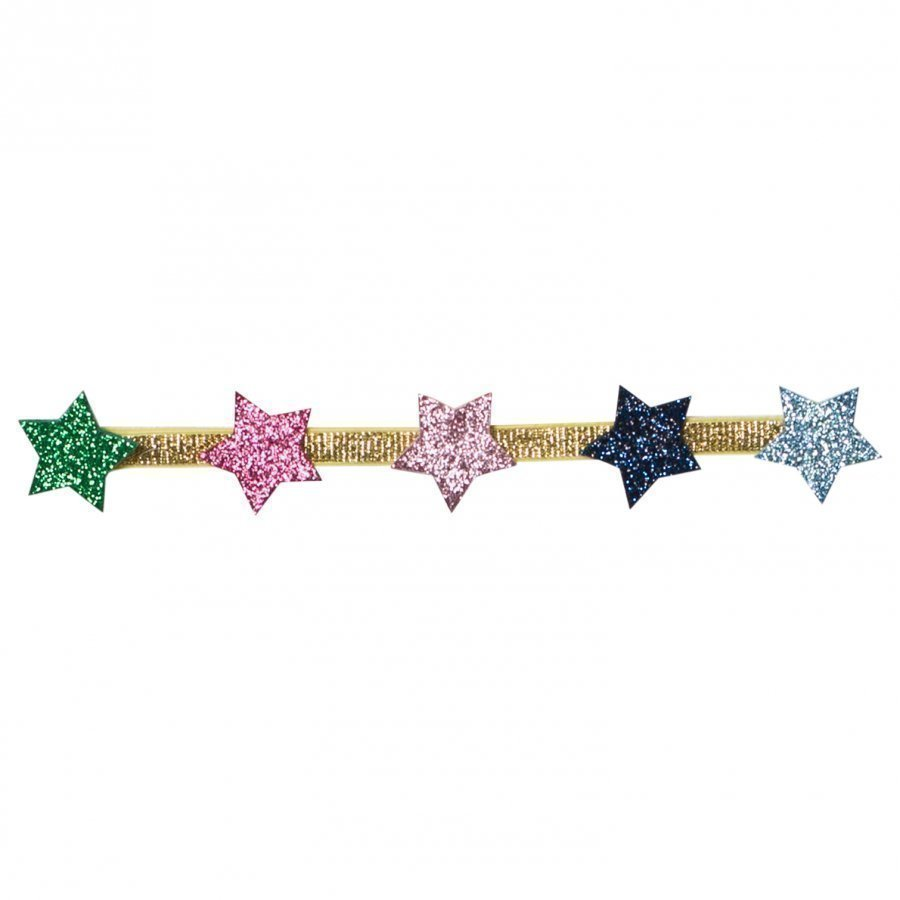 Le Big Gold Elastic Headband With Stars Hiuspanta