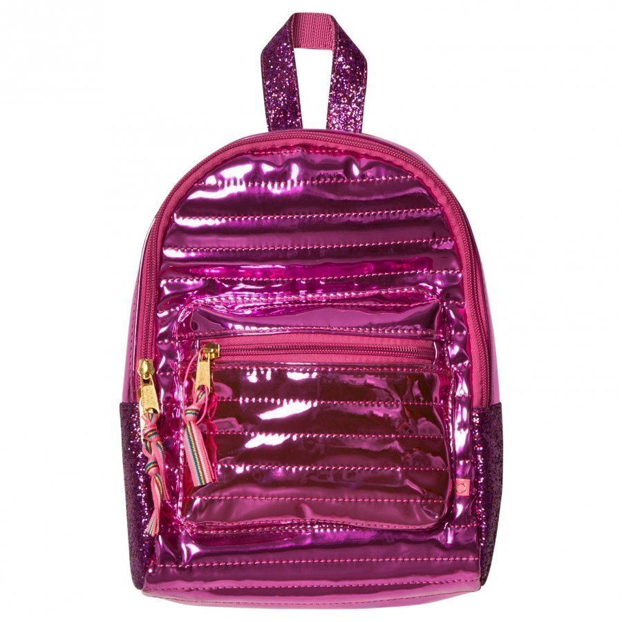 Le Big Mini Metallic Backpack Pink Reppu