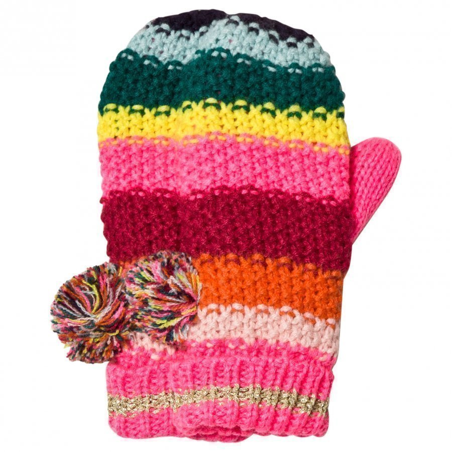 Le Big Multi Stripe Knitted Mittens Fleece Lapaset