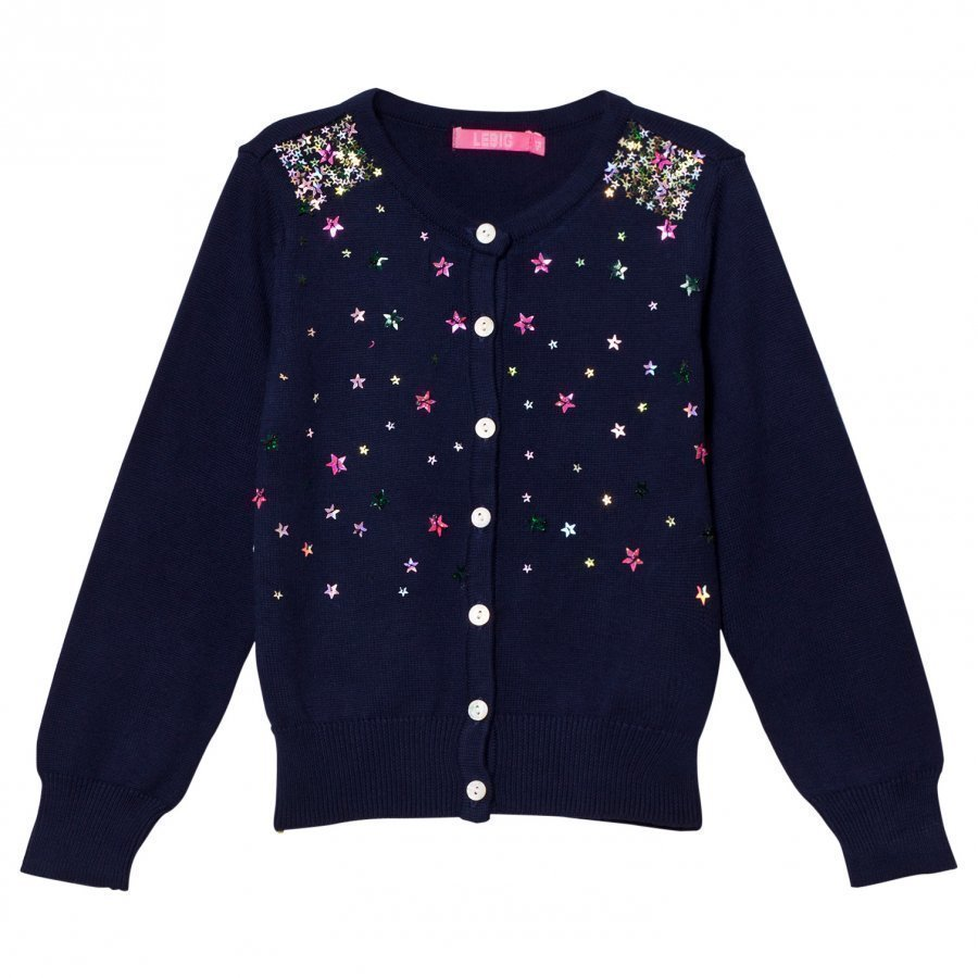 Le Big Navy Cardigan With Sequin Stars Neuletakki