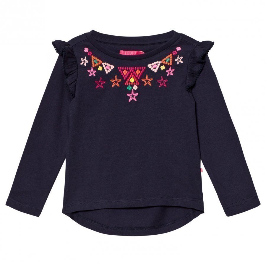 Le Big Navy Embroidered Tee With Frill Sleeve Pitkähihainen T-Paita