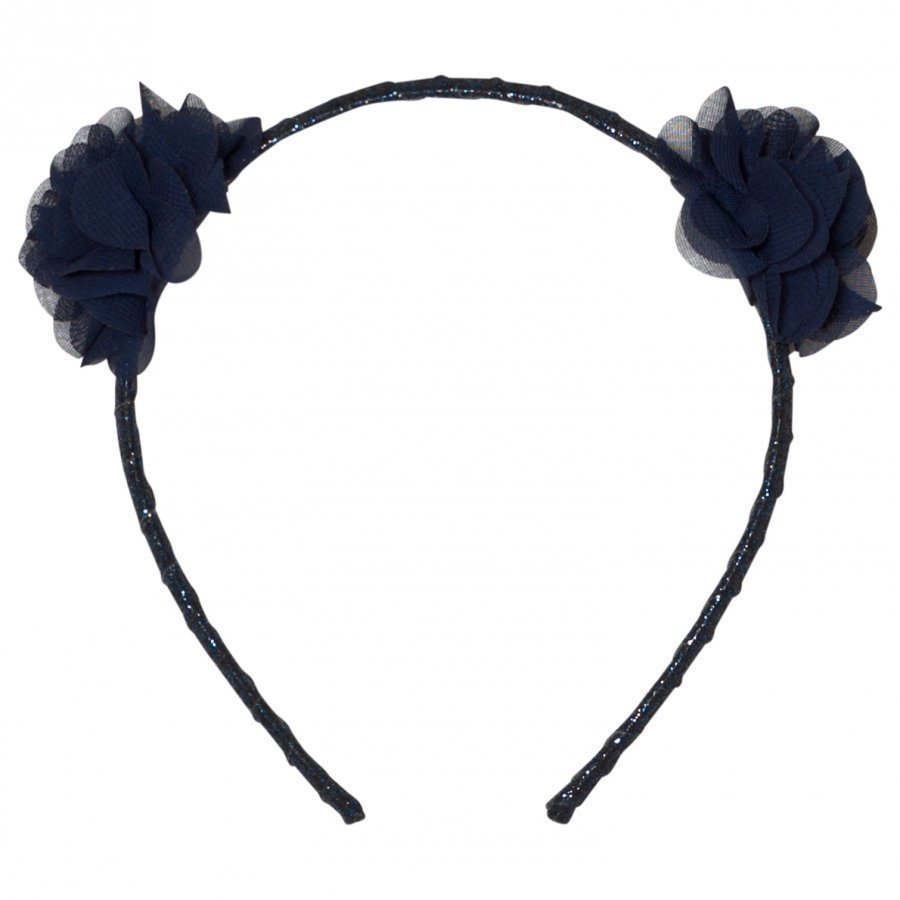 Le Big Navy Glitter Flower Headband Hiuspanta