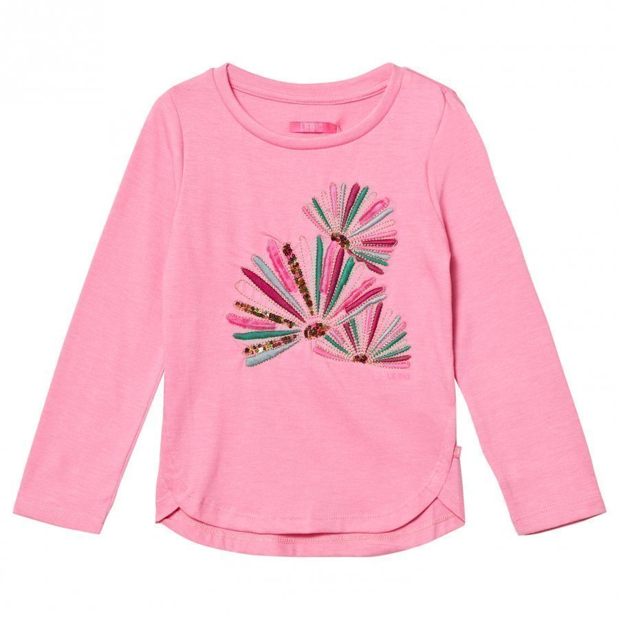 Le Big Pink Melange Embroidered Long Sleeve Tee Pitkähihainen T-Paita