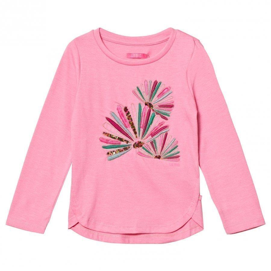 Le Big Pink Melange Embroidered Long Sleeve Tee Pitkähihainen T-Paita