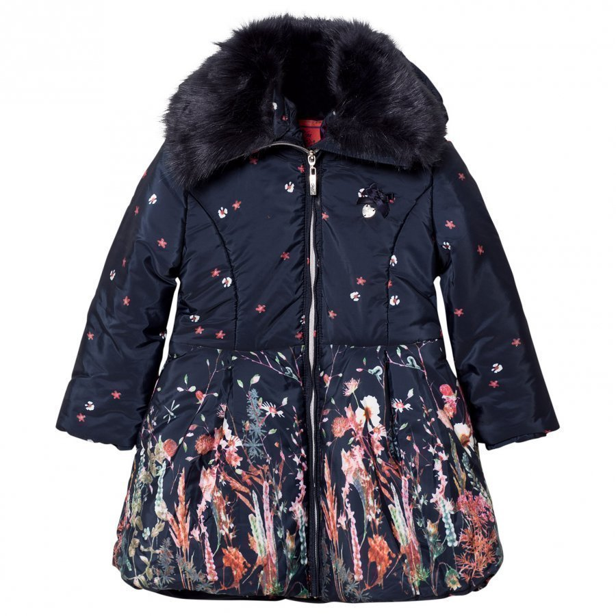 Le Chic Flower Print Long-Line Jacket Navy Talvitakki