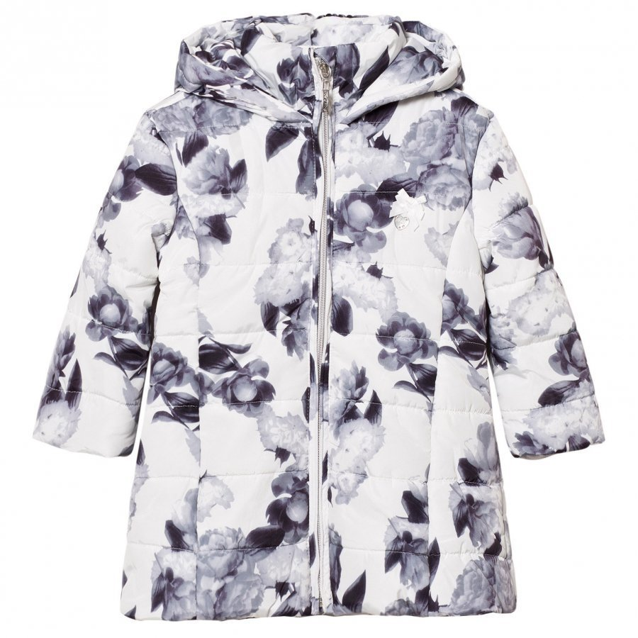 Le Chic Flower Print Long-Line Jacket Off-White Toppatakki