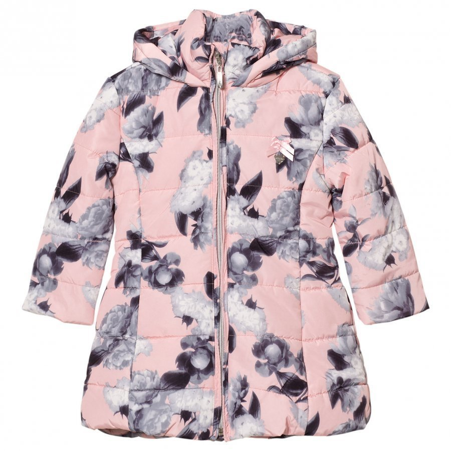Le Chic Flower Print Long-Line Jacket Soft Pink Toppatakki