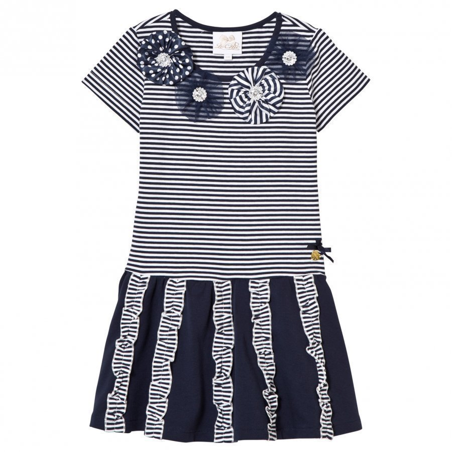 Le Chic Navy And Stripe Jersey Dress With Rosettes Diamantes And Ruffle Detail Mekko