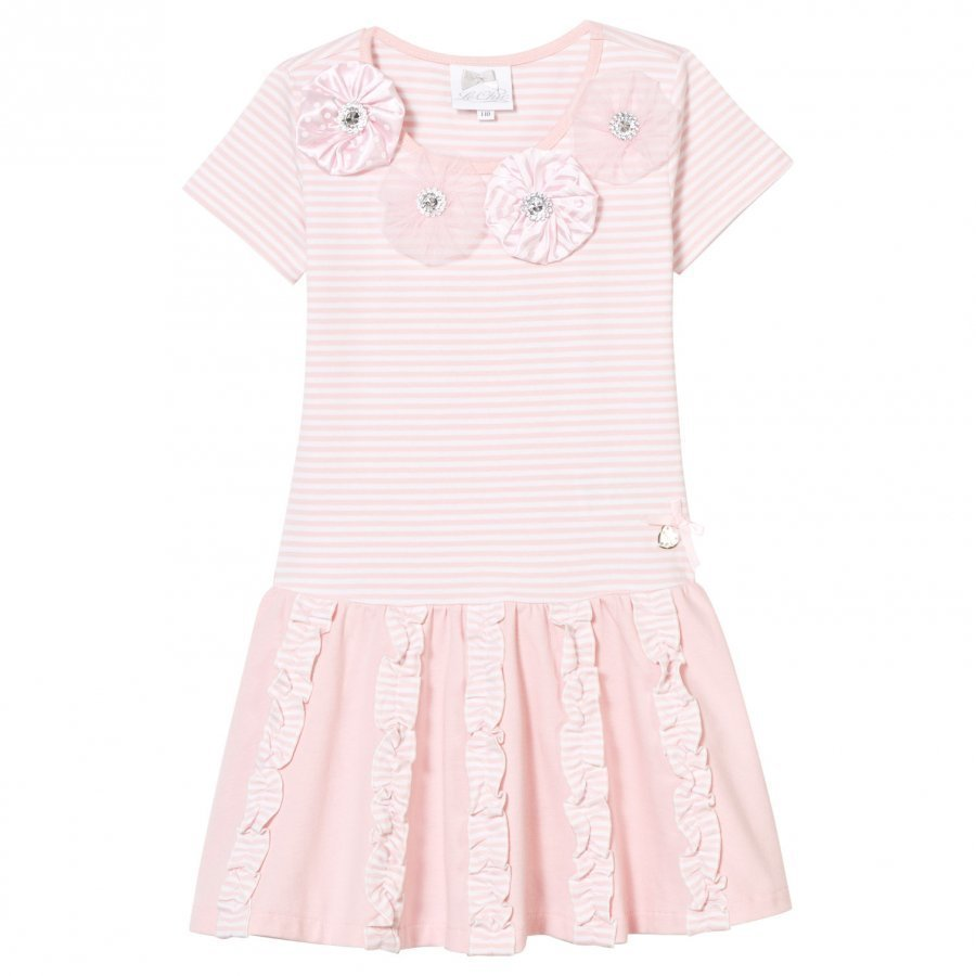 Le Chic Pale Pink And Stripe Jersey Dress With Rosettes Diamantes And Ruffle Detail Mekko
