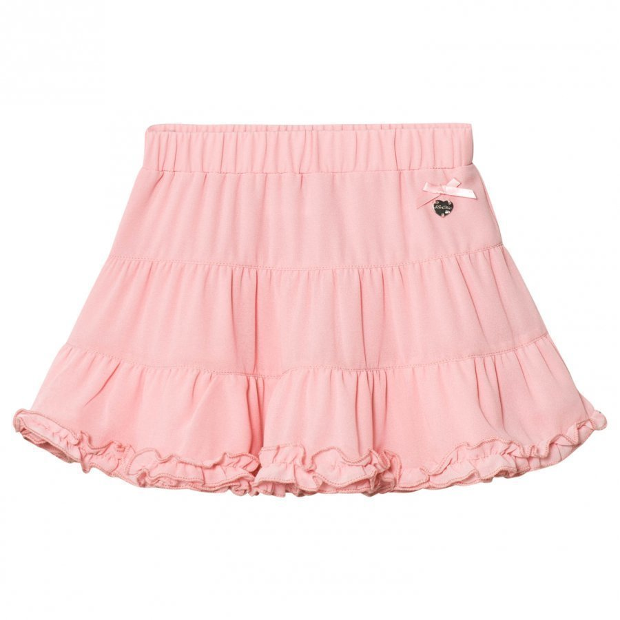 Le Chic Pink Tiered Ruffle Skirt Lyhyt Hame