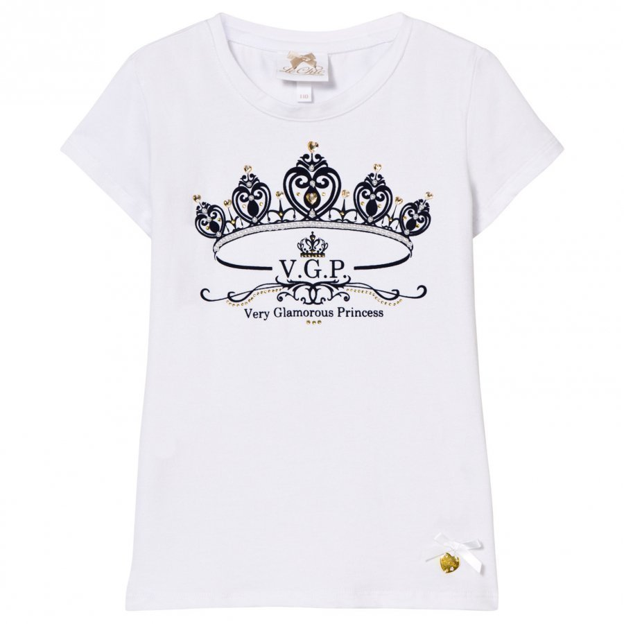 Le Chic White Flocked Crown And Jewel Print Tee T-Paita