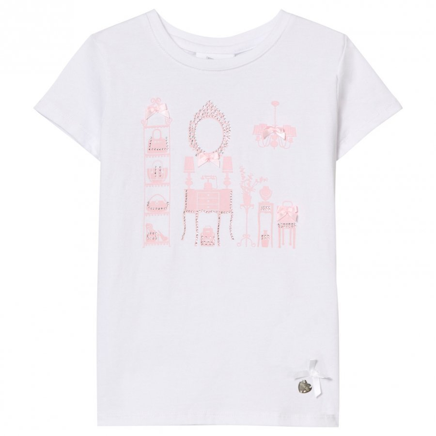 Le Chic White Room Print And Diamante Tee T-Paita