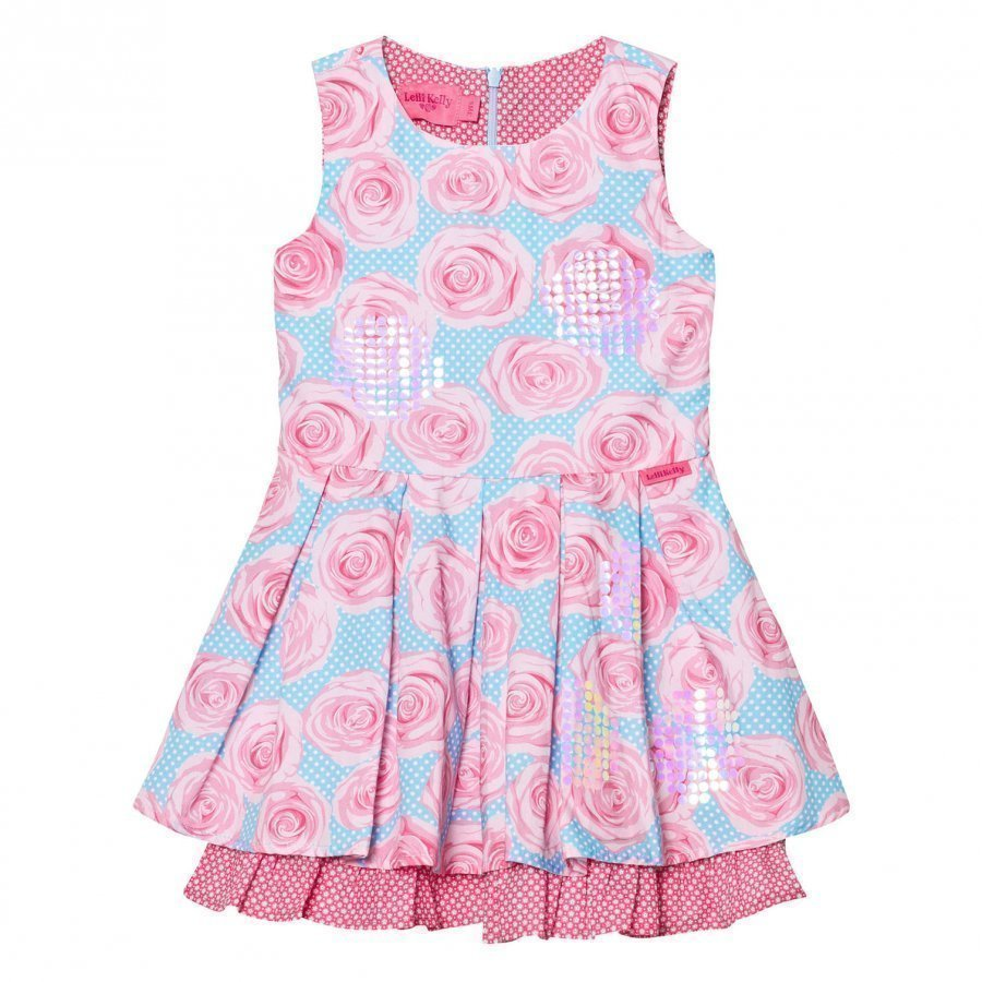 Lelli Kelly Pink And Aqua Rose Print Dress Mekko
