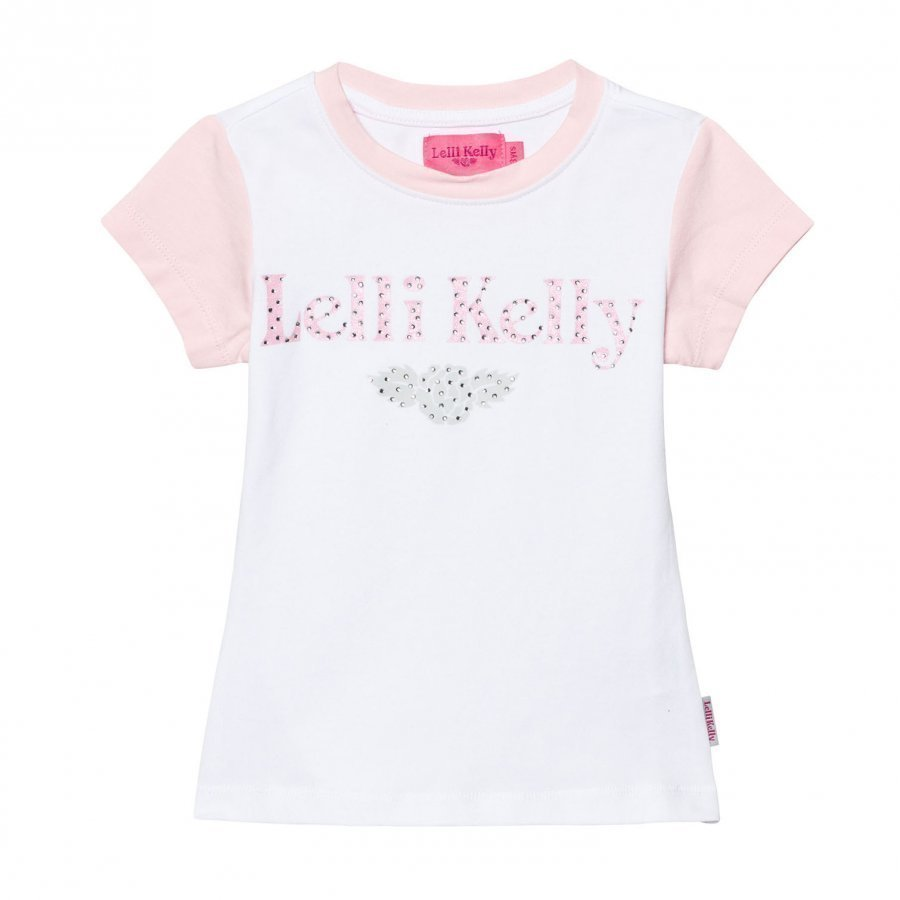 Lelli Kelly Pink And White Diamante Branded Tee T-Paita