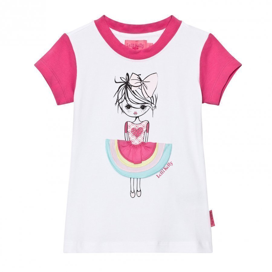 Lelli Kelly Pink And White Girl With Appliqe Skirt Tee T-Paita
