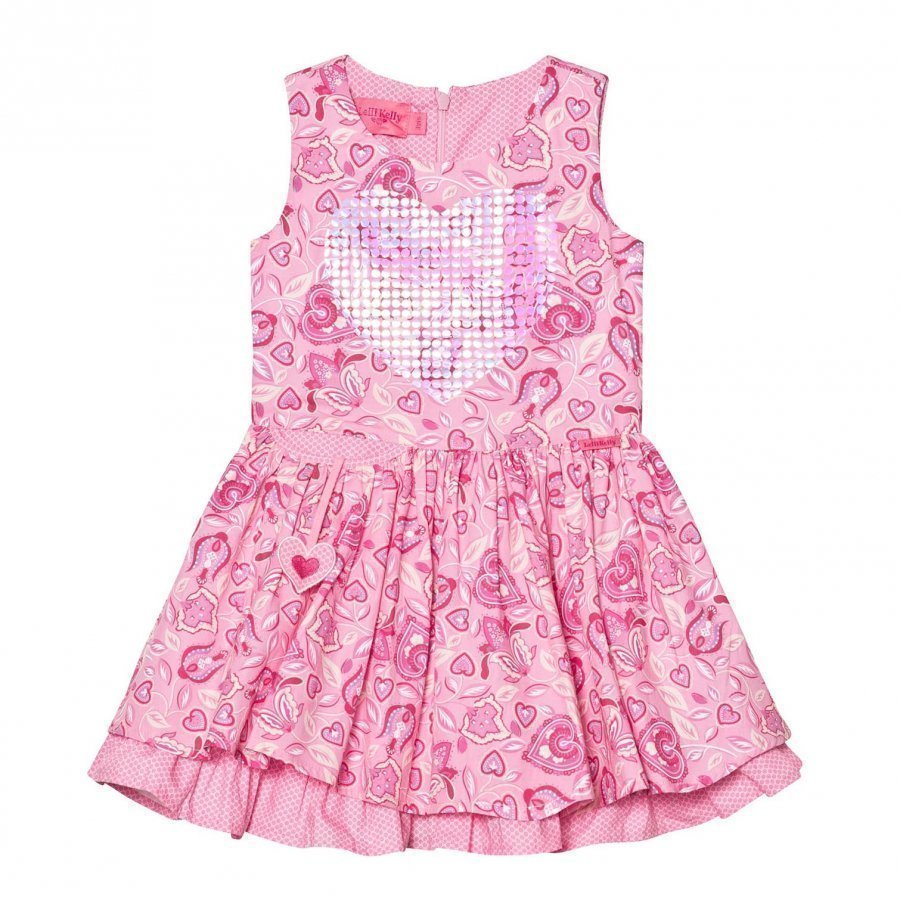 Lelli Kelly Pink Floral Print Dress With Sequin Heart Mekko