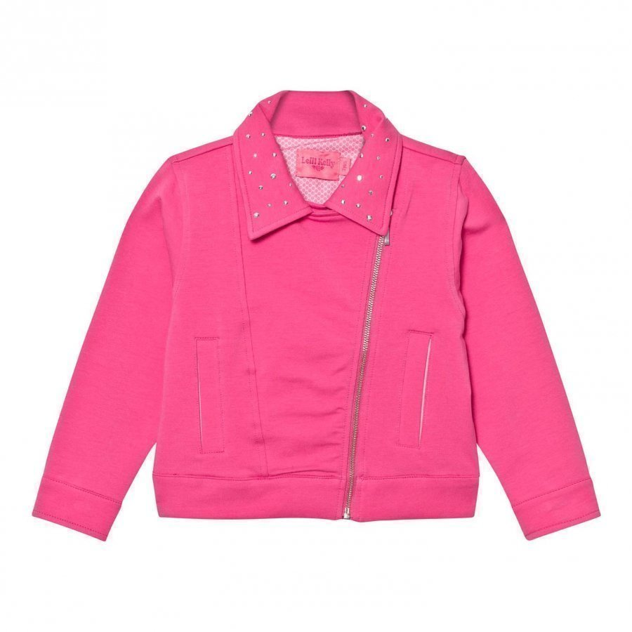 Lelli Kelly Pink Sweat Biker Jacket With Diamante Detail Biker Takki