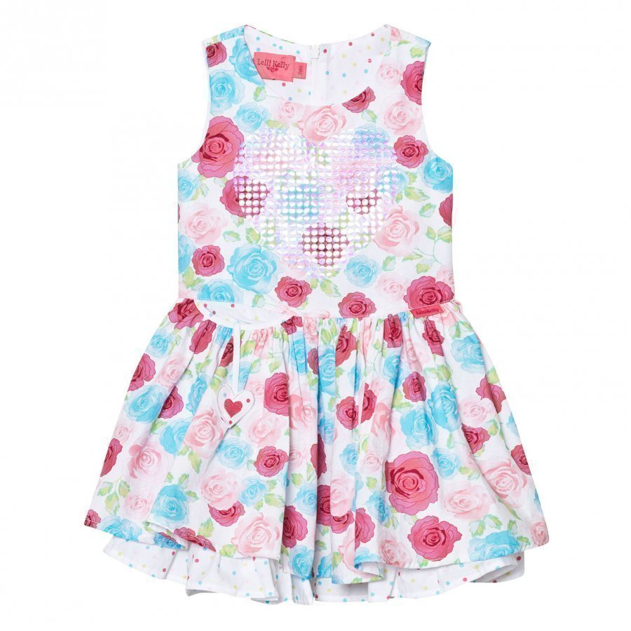 Lelli Kelly White And Multi Rose And Sequin Heart Dress Mekko