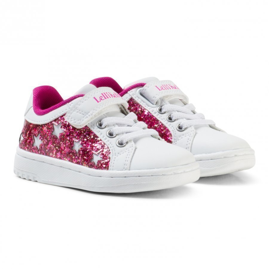 Lelli Kelly White And Pink Star Glitter Velcro Trainers Lenkkarit