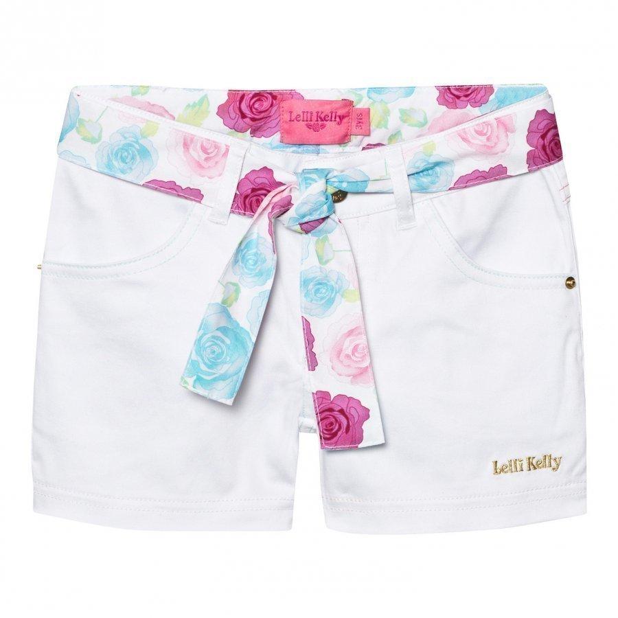 Lelli Kelly White Denim Shorts With Floral Tie Farkkushortsit