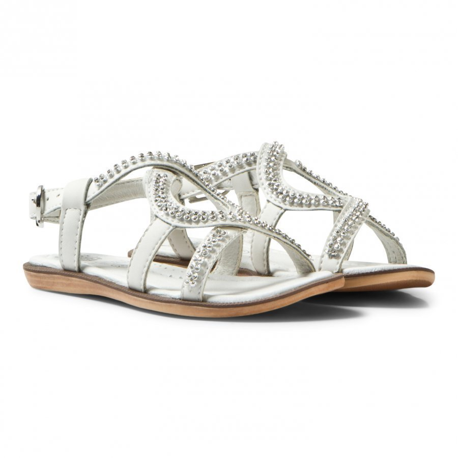 Lelli Kelly White Doroty Leather Diamante Sandals Remmisandaalit