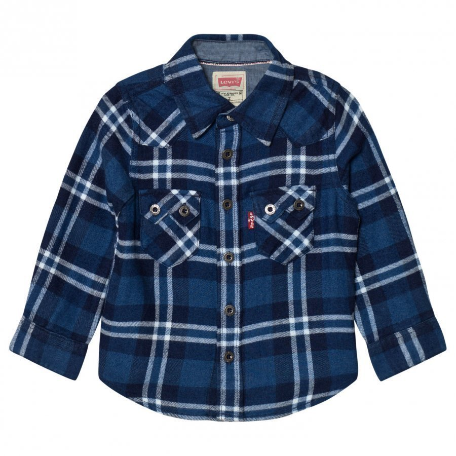 Levis Kids Blue And White Woven Check Shirt Kauluspaita