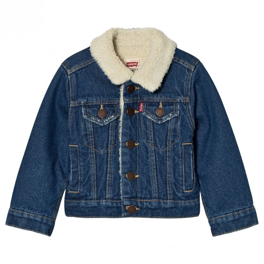Levis Kids Blue Denim Trucker Jacket Teddy Lining Farkkutakki