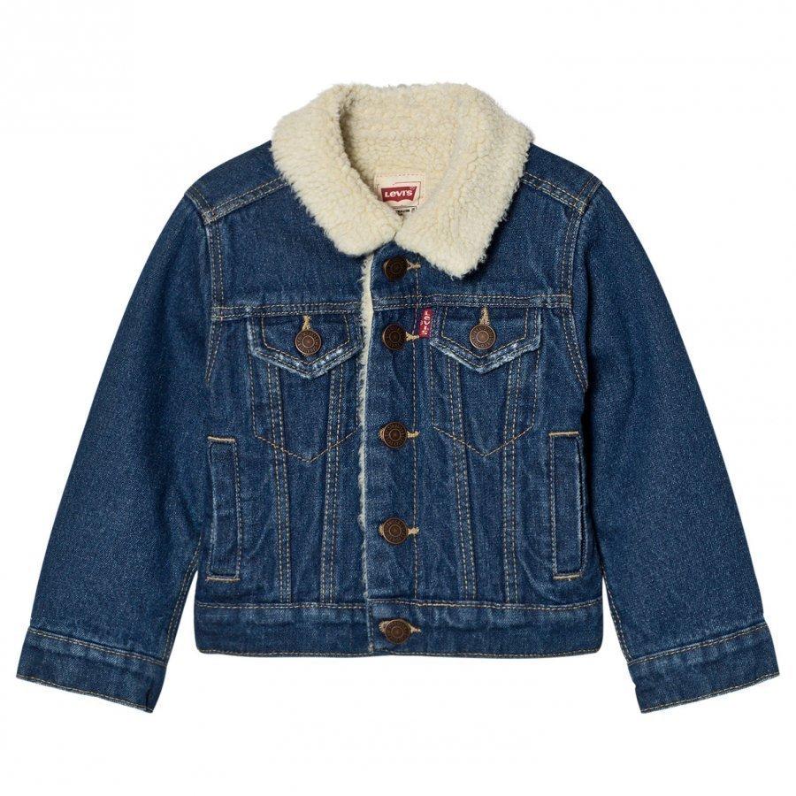 Levis Kids Blue Denim Trucker Jacket Teddy Lining Farkkutakki