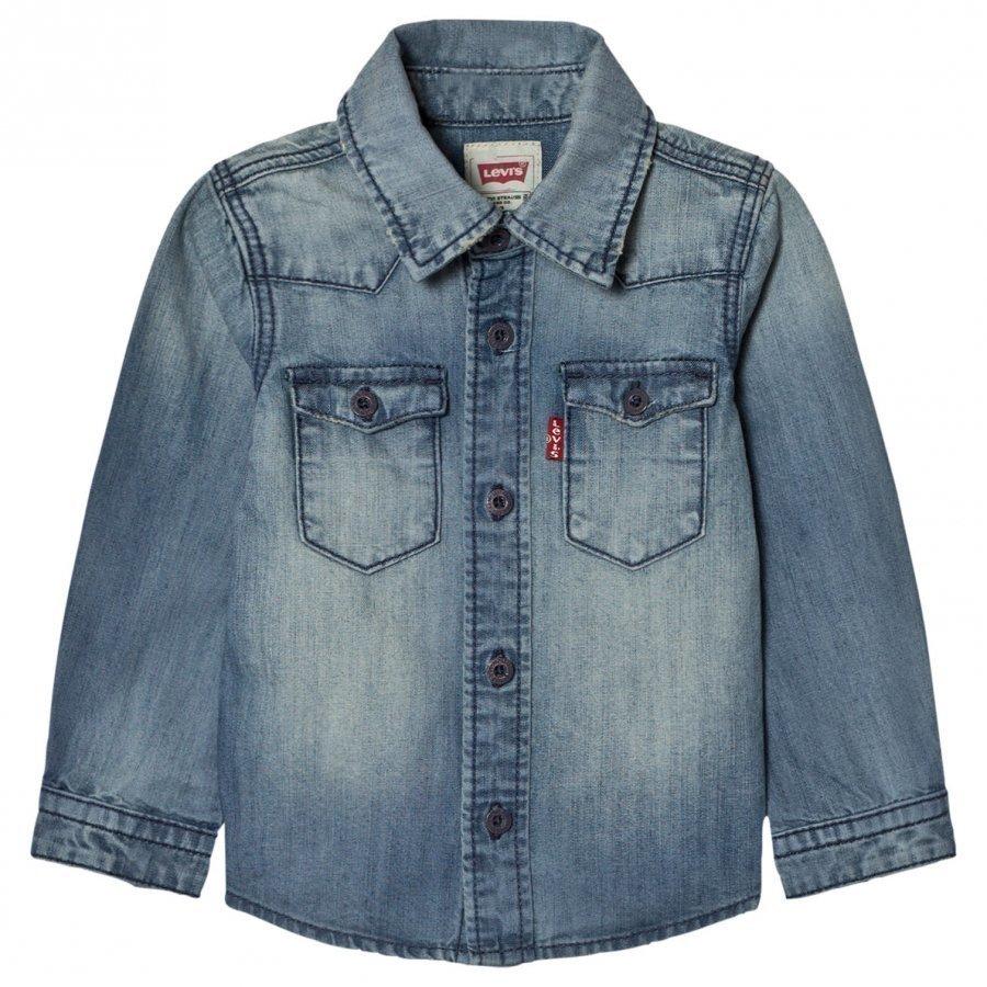 Levis Kids Blue Long Sleeve Denim Shirt Kauluspaita