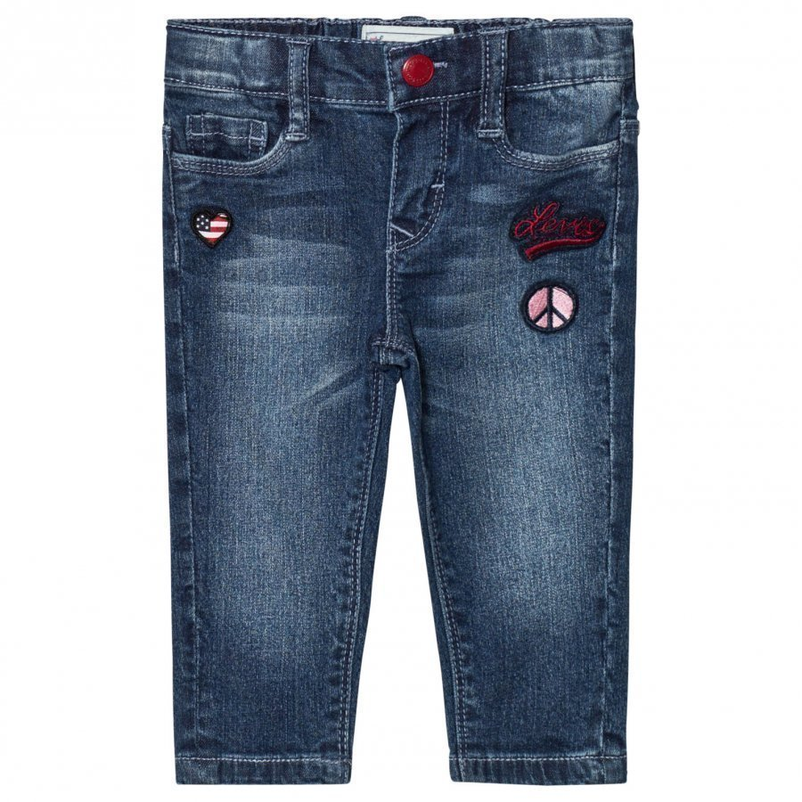 Levis Kids Blue Mid Wash Pull Up Jeans With Badge Embroidery Farkut